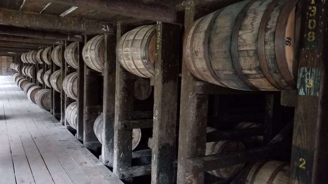 Barrels on wood barracks in rickhouse