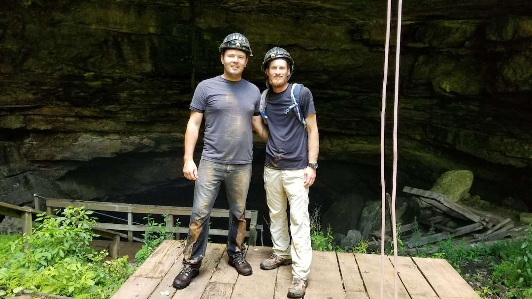 Dennis and Shane in front of Horse Cave