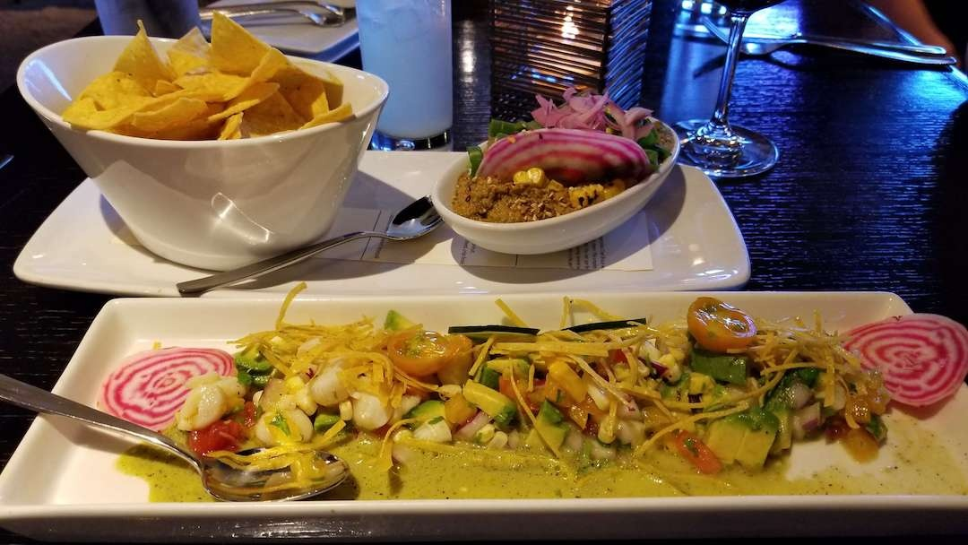 Scallop Ceviche and appetizer at Mayan Cafe