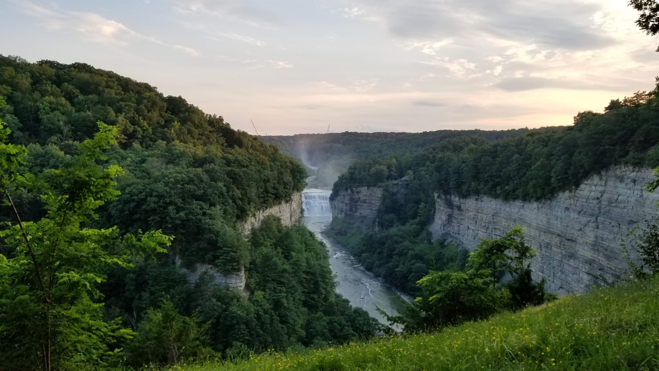 Waterfall at Letchworth State Park Canyon with Trees and river