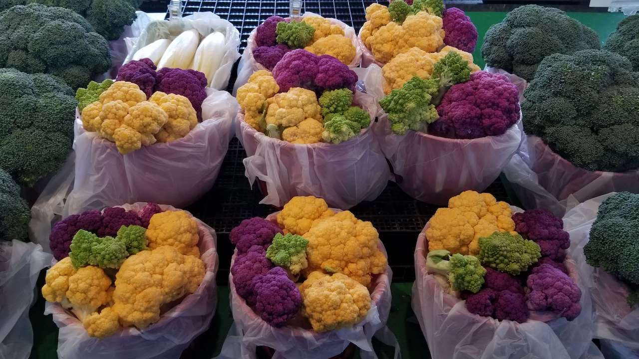 Purple yellow and green cauliflower