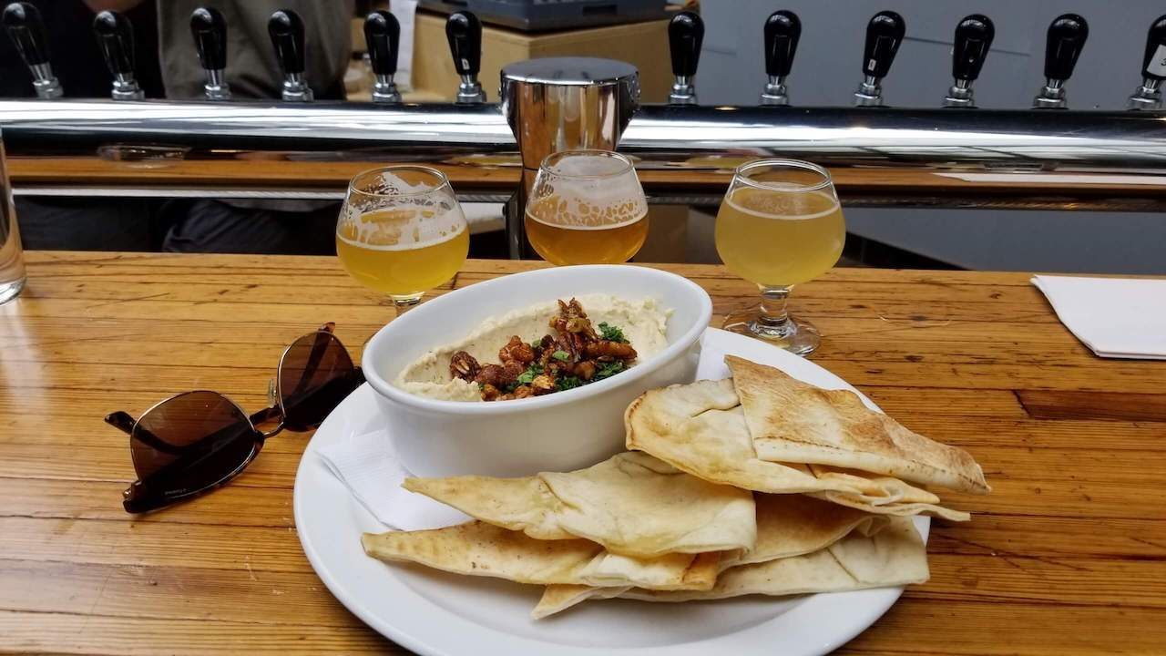 Hummus Zatar and Beer Sample at Ma Brasserie Montreal