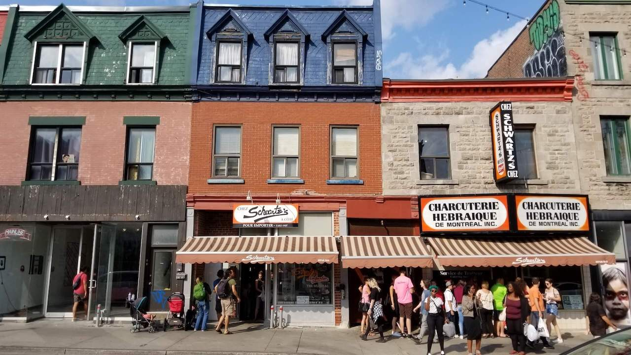 Schwartz Deli Montreal with line outside