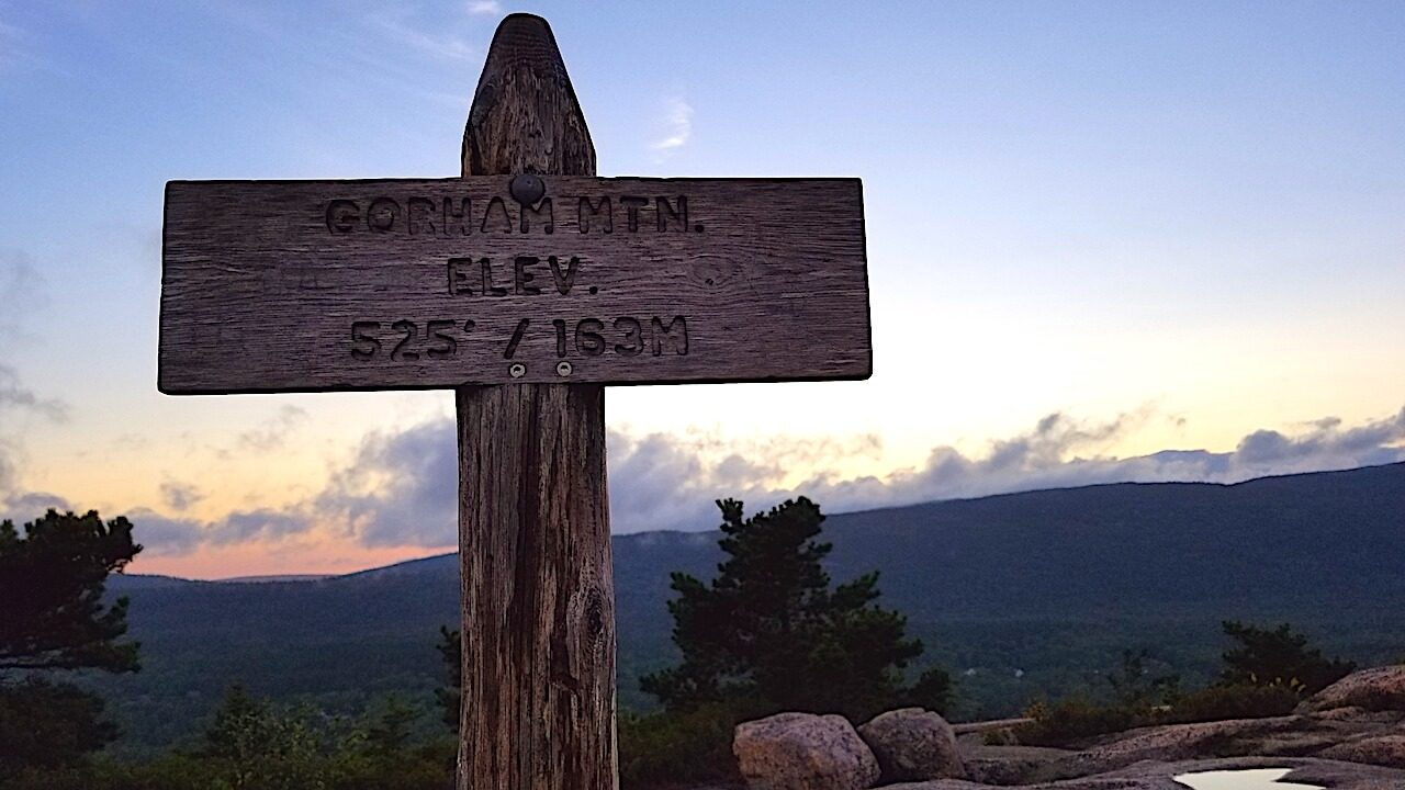 Gorham Mountain elevation sign