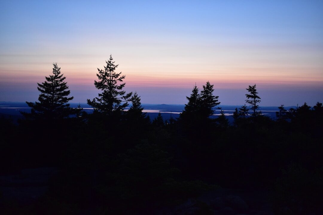 Sunset between evergreen trees on mountain Maine