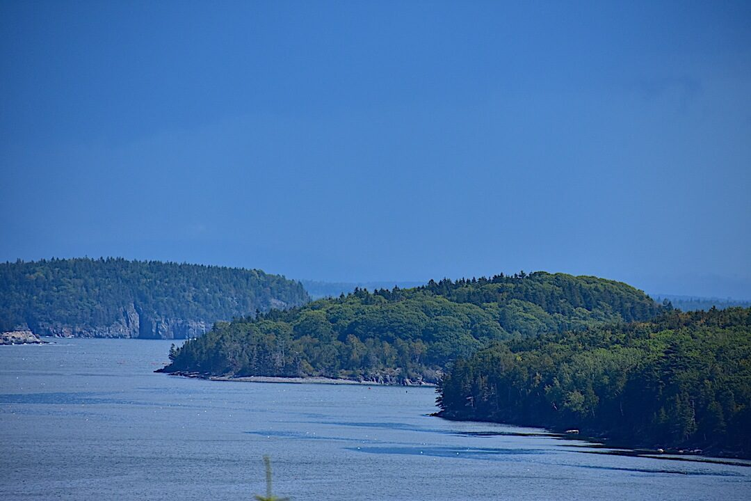 Islands of Maine with ocean and trees