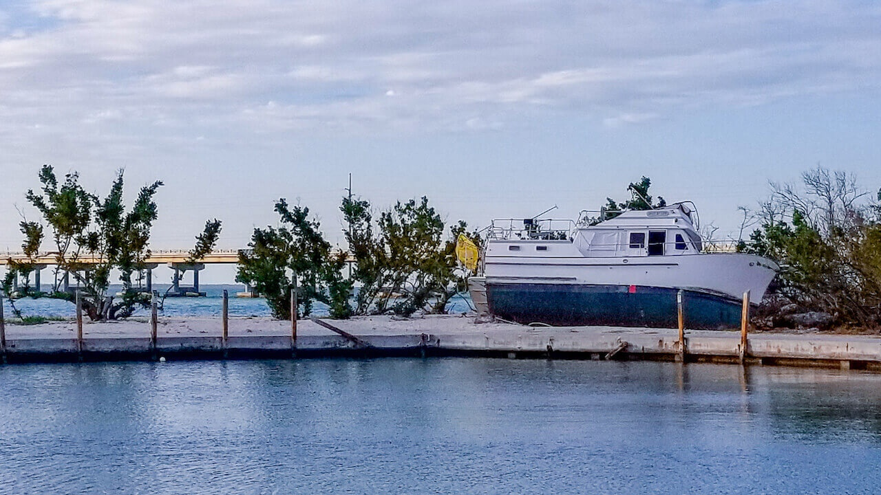 Boat Shipwrecked on Land in Florida Keys after Irma