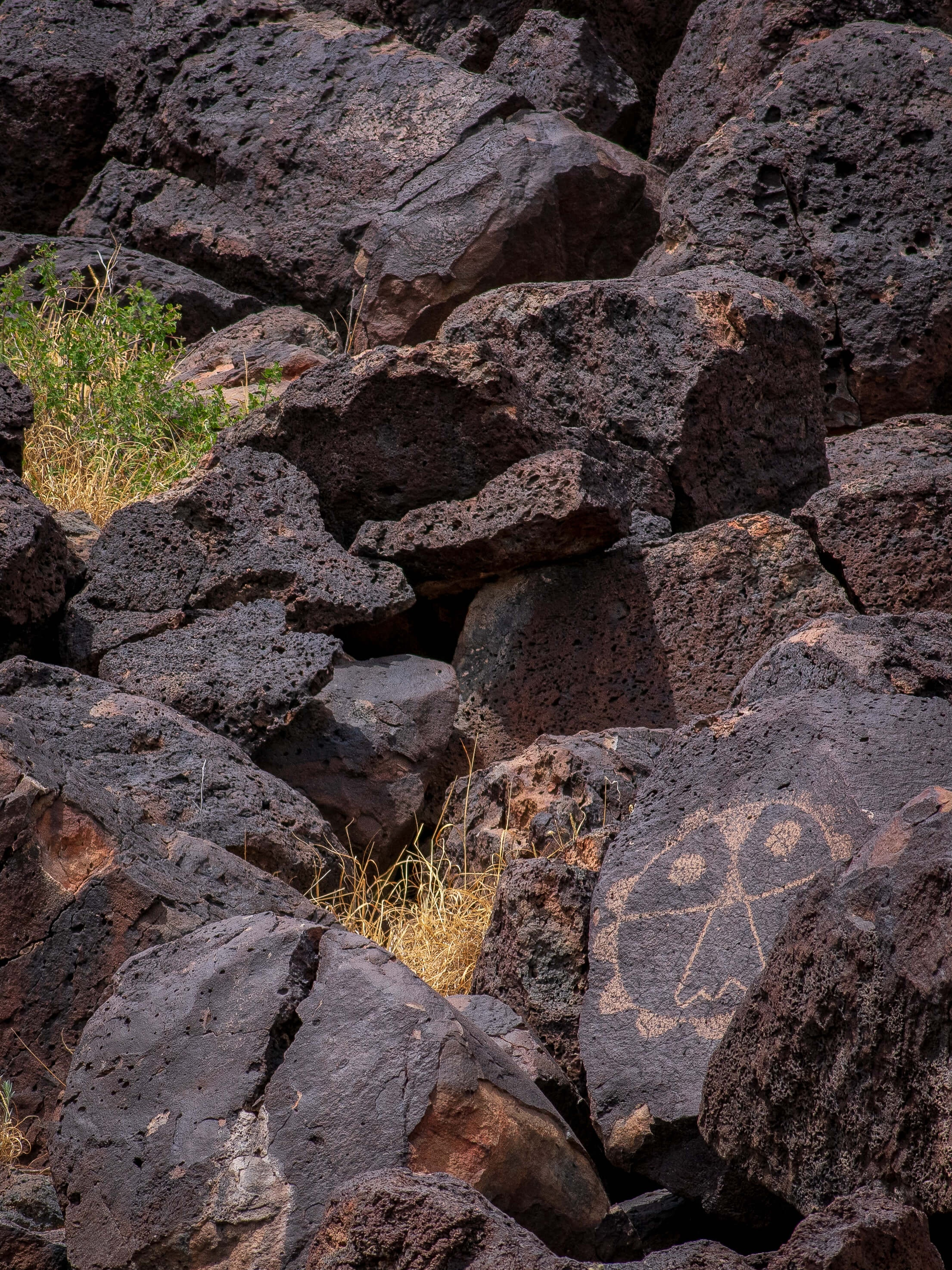 Mask Petroglyph in Lava Rocks New Mexico