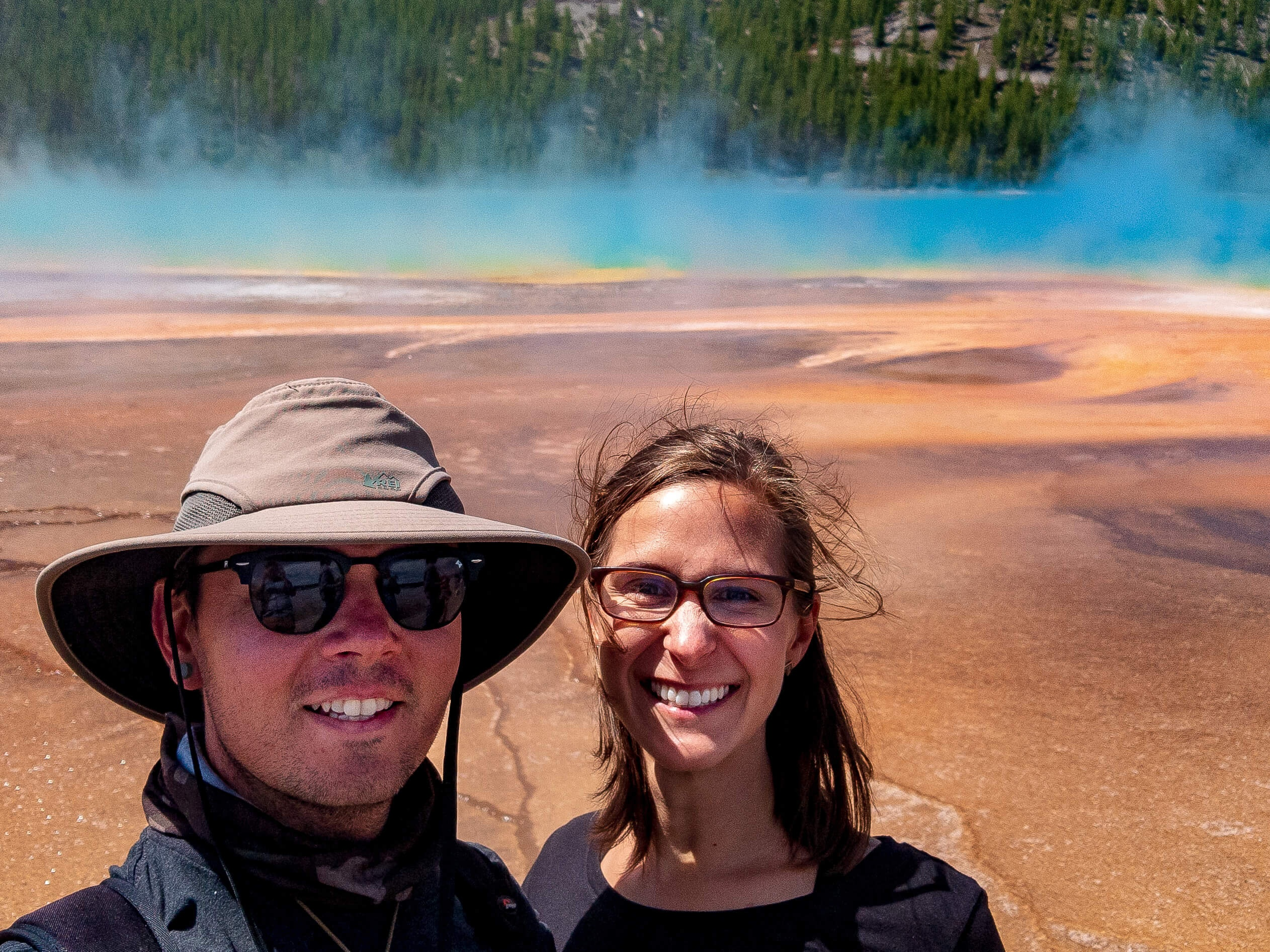 Liz Brumer Smith and Dennis Smith at Grand Prismatic Springs Yellowstone