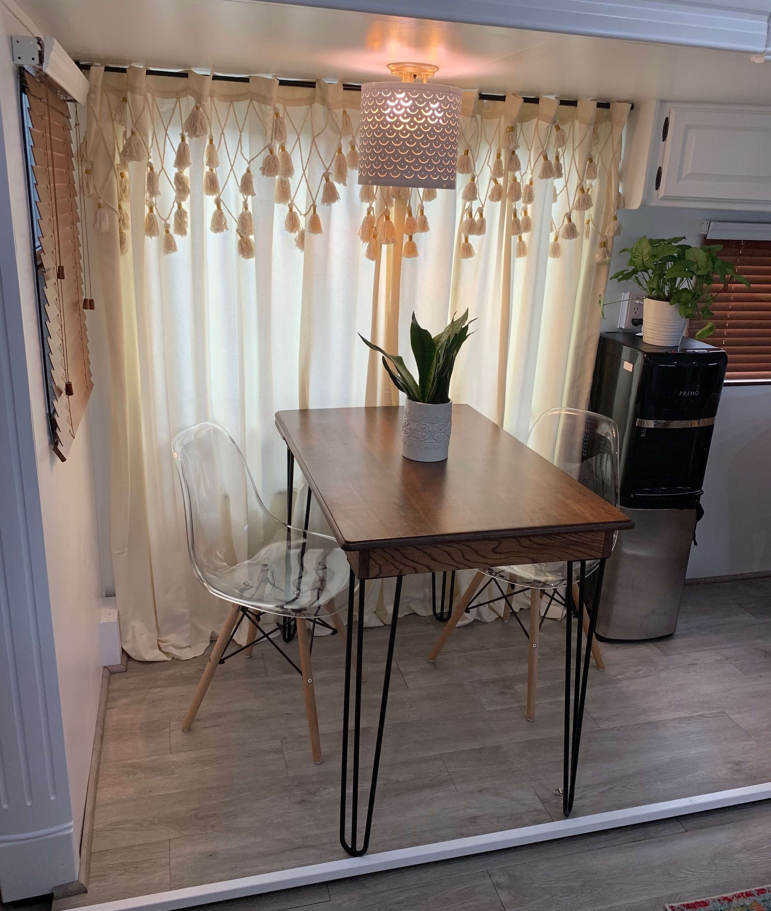 Renovated fifth wheel RV Dining
