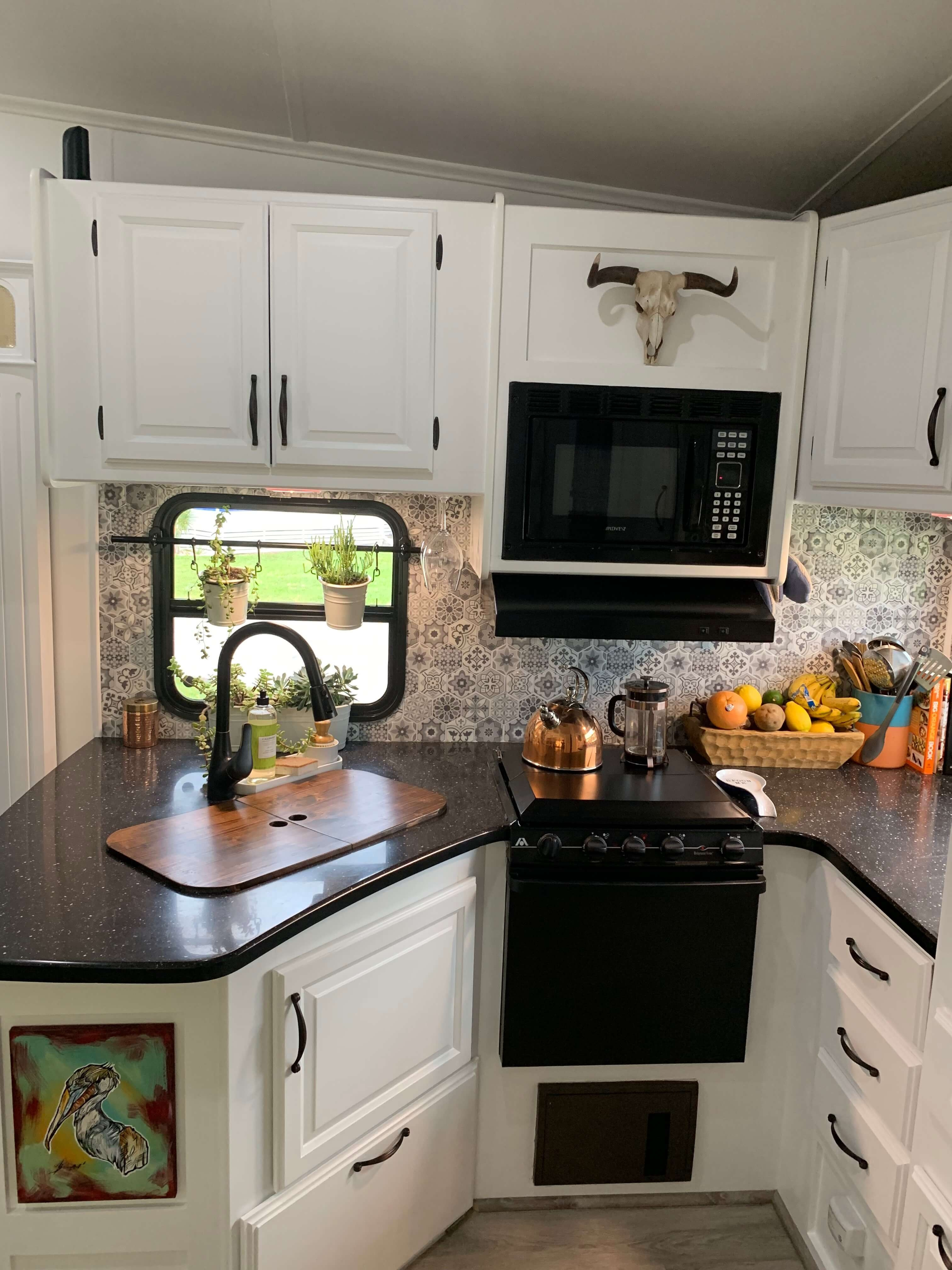 Renovated Fifth Wheel RV Kitchen